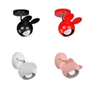 Rotatable Metal Animal Wall Sconce 1 Head Cartoon Style Wall Light in Black/Pink/Red/White for Stair