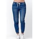 Womens Stylish Drawstring Waist Elastic Cuff Regular Fit Jeans
