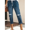 Womens New Stylish Street Hip Hop Style Drawstring Waist Rolled Hem Ripped Casual Straight Jeans