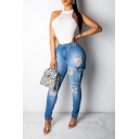 Womens Unique Flap Pocket Side Distressed Ripped Blue Skinny Fit Jeans