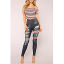 Womens Dark Blue Fashion Distressed Ripped Hole Skinny Fit Jeans