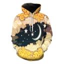 Stylish Cartoon Cloud Moon Printed Basic Long Sleeve Casual Loose Hoodie