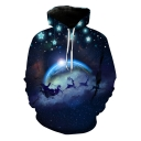 Christmas Starry Santa Claus Blue Galaxy Print Loose Casual Hoodie