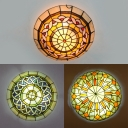 Multi-Color Bowl Ceiling Mount Light Tiffany Antique Glass Flush Light for Study Room Bedroom