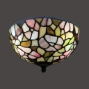 Rustic Stylish Rose Flush Ceiling Light Stained Glass Ceiling Fixture for Balcony Corridor