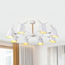Modern Style Blue/White Chandelier Antlers 3/5/8 Lights Pendant Light for Boys Girls Bedroom