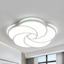 Kids White Finish Flush Mount Light Petal Acrylic Stepless Dimming/Warm/White Ceiling Fixture for Study Room