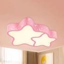 Star Nursing Room Ceiling Mount Light Acrylic Cartoon Warm/White Lighting LED Flush Light in Blue/Pink