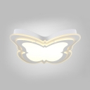 Lovely Butterfly LED Flush Mount Light Acrylic Stepless Dimming/Third Gear Ceiling Fixture in White for Child Bedroom
