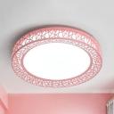 Metal Nest LED Flushmount Light Macaron Loft Blue/Green/Pink/Yellow LED Ceiling Lamp in Warm/White for Child Bedroom