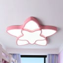 Modern Stylish Star Ceiling Mount Light Acrylic Warm/White LED Ceiling Lamp in Blue/Pink/White/Yellow for Game Room