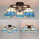 Art Glass Grid Bowl Ceiling Fixture 3/5/7 Heads Traditional Tiffany Flush Ceiling Light in Blue for Hotel
