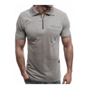 Mens Stylish Zipper Collar Short Sleeve Simple Plain Casual Fitted Polo Shirt