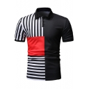 Summer Stylish Vertical Striped Printed Three-Button Turn-Down Collar Short Sleeve Slim Fit Polo Shirt