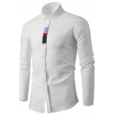 Mens Stylish Colorblock Placket Basic Long Sleeve Cotton Fitted Shirt