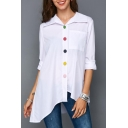 Womens Unique Funny Colorful Button Front Spread Collar Long Sleeve Asymmetrical Hem Shirt