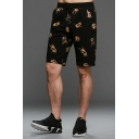 Summer New Trendy Insect Bee Print Drawstring Waist Loose Fit Black Sweat Shorts