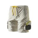 Summer Fashion Plain Mesh Patched Zipper Pocket Flap Pocket Side Drawstring Waist Casual Sport Shorts Cargo Shorts