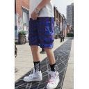 Summer Fashion Contrast Plaid Pattern Elastic Waist Casual Loose Cargo Shorts