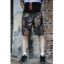 Summer Trendy Printed Drawstring Waist Black Mesh Quick Drying Men's Casual Athletic Shorts