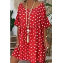 Summer Hot Popular Allover Star Printed Round Neck Loose Fit Mini Dress