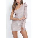 Womens Hot Fashion One Shoulder Shrug Long Sleeve Mini Bodycon Silver Sequined Club Dress