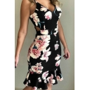 Womens Trendy Fancy Floral Printed V-Neck Cutout Waist Midi Bodycon Ruffled Slip Dress