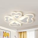 4 Head Loving Heart Ceiling Mount Light Modern Acrylic LED Ceiling Fixture in Warm/White for Corridor
