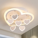Contemporary Loving Heart Flush Mount Light Acrylic LED Ceiling Lamp in Warm/White for Corridor