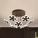 Modern Petal LED Ceiling Lamp 5/9 Lights Metal Semi Ceiling Mount Light in Coffee/Gold for Kindergarten
