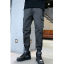 New Trendy Colorblock Tape Patch Flap Pocket Drawstring Waist Elastic Cuffs Cotton Cargo Pants for Men