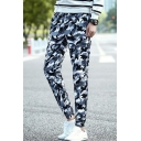 Men's Fashion Popular Camouflage Printed Drawstring Waist Elastic Cuffs Casual Tapered Pants