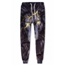 3D Lion Printed Drawstring Waist Black Casual Loose Sport Sweatpants