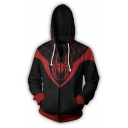 New Stylish Black and Red Spider Printed Long Sleeve Zip Up Loose Fitted Hoodie