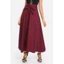Womens Stylish Bow-Tied Waist High Rise Simple Plain Maxi Flared Skirt