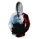 Popular 3D Fire Wolf Printing Long Sleeve Zip Front Sport Loose Unisex Hoodie