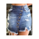 Womens Trendy Destroyed Ripped Fringed Hem Button-Fly Mini Bodycon Denim Skirt