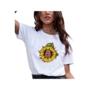 Funny Unique Dog Sunflower Pattern Round Neck Short Sleeve Casual Loose T-Shirt