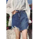 Trendy Blue Destroyed Ripped Casual Mini A-Line Denim Skirt