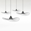 Metal Caged Hat Hanging Pendant Light Modern Single Light Suspension Lamp in Black