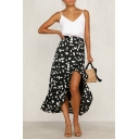 Summer Holiday Classic Polka Dot Printed Ruffled Hem Wrap Front Maxi Skirt