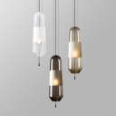 Amber/Clear/Smoke Glass Mini Pendant Light Modern Style 1-Light Hanging Lamp for Restaurant Cafe Bar