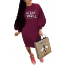 Popular Letter BLACK AND SMART Crewneck Lantern Sleeve Midi Casual Sweatshirt Dress