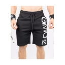 Men's Summer Simple Fashion Letter Printed Drawstring Waist Black Cotton Casual Sports Sweat Shorts