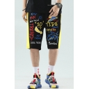Summer Trendy Letter Graffiti Printed Contrast Tape Patched Drawstring Waist Black Cotton Sports Sweat Shorts
