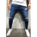 Simple Plain Cool Damage Knee Cut Ripped Detail Zipper Vent Men's Dark Blue Slim Fit Jeans