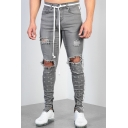 Men's New Fashion Zip Cuffs Knee Cut Ripped Slim Fit Grey Jeans