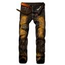 Men's Hot Popular Vintage Washed Stretch Fit Zip-fly Brown Jeans
