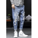 Men's Stylish Simple Plain Relaxed Fit Blue Ripped Tapered Jeans