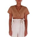 Womens Summer Simple Plain V-Neck Double-Button Front Short Sleeve Cropped Blouse